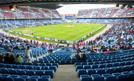 MADRID, SPAIN- ABRiL 19: semifinals of the Copa Del Rey en el Vicente Calderon soccer stadium during a soccer game Atl�tico Madrid vs. Valencia on Abril 19, 2012 in Madrid, Spain. Atl�tico Madrid won 4-2.