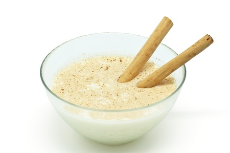 Savory Rice pudding with cinnamon sticks Stock Photo