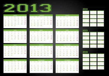 New calendar years 2013-2014-2015-2016 Stock Vector - 13536895