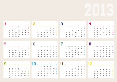 Calendar year 2013 Stock Vector - 13611130