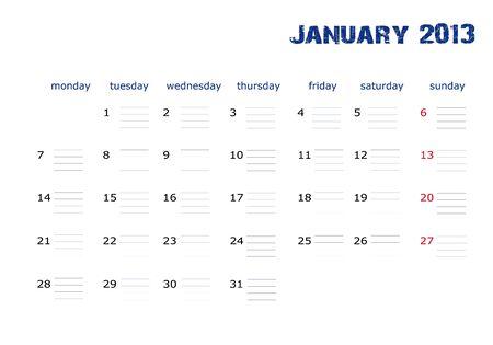 January 2013 Stock Vector - 13611095
