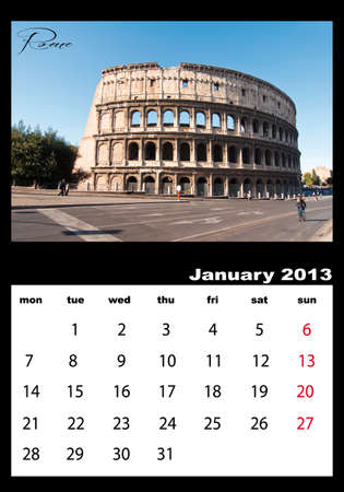 January 2013 calendar with pictures of the Colosseum in Rome photo