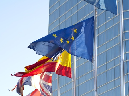 Flags of the European Union, Spain and Britain photo