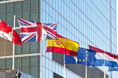 Flag of the European Union, Spain, Canada and  UK photo