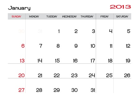 Calendar of january 2013 in english Vector
