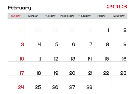 Calendar of february 2013 in english Vector
