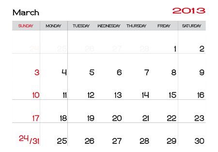 Calendar of march 2013 in english Vector