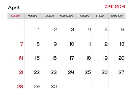 Calendar of april 2013 in english Vector