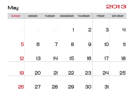 Calendar of may 2013 in english Vector