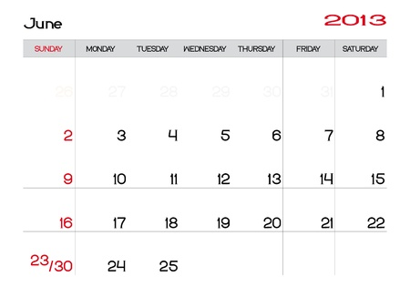 Calendar of june 2013 in english Vector
