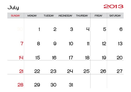Calendar of july 2013 in english Vector