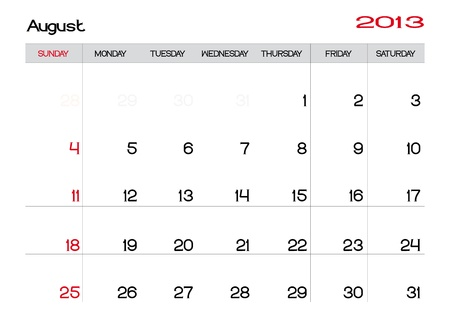 Calendario del mes de agosto de 2013 en Ingl�s Foto de archivo - 13927486