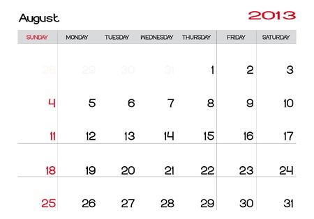 Calendario del mes de agosto de 2013 en Inglés Foto de archivo - 13927486