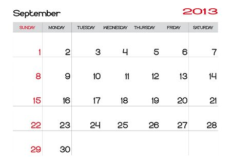 Calendar of september 2013 in english Vector