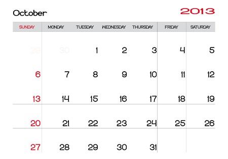 Calendario del mes de octubre de 2013 en Ingl�s Foto de archivo - 13927478