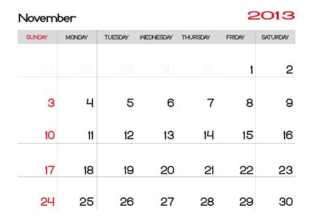 Calendar of november 2013 in english Vector