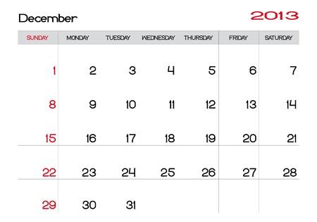Calendar of December 2013 in english Stock Vector - 13927480