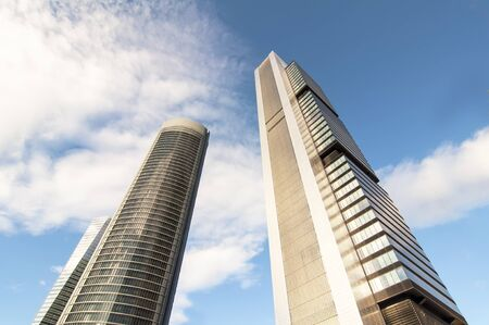 cuatro: MADRID, SPAIN - APRIL 7: Cuatro Torres Business Area on April 7, 2012 in Madrid, Spain.   The business park consists of four skyscrapers that are the Torre Caja Madrid, Sacyr Vallehermoso Tower - Torre PwC, the Crystal Tower and the Tower Space. Were inau