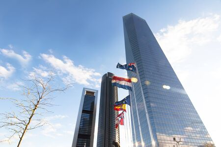vallehermoso: MADRID, SPAIN - APRIL 7: Cuatro Torres Business Area on April 7, 2012 in Madrid, Spain.   The business park consists of four skyscrapers that are the Torre Caja Madrid, Sacyr Vallehermoso Tower - Torre PwC, the Crystal Tower and the Tower Space. Were inau