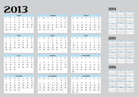 New Calendar of 2013-22014-2015-2016 in spanish Vector