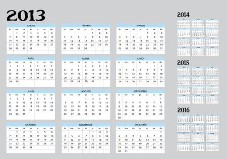 intentie: Nieuwe agenda van 2013-22014-2015-2016 in het Spaans