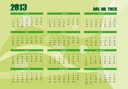 new calendar 2013 in spanish Vector