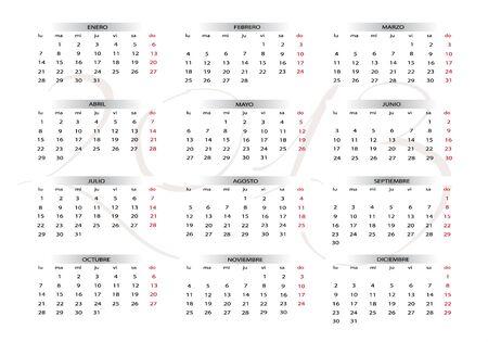 2013 new calendar in spanish Stock Vector - 14127326