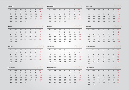 2013 new calendar in spanish Stock Vector - 14127328