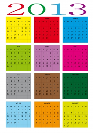 Colors of the new calendar year 2013 in spanish  Vector