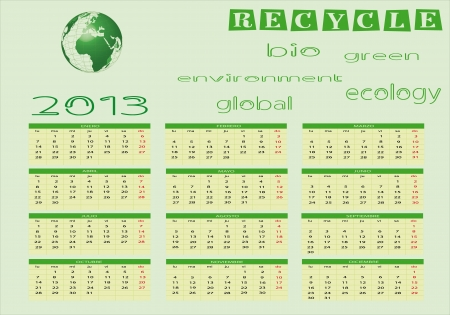 Ecological Calendar 2013 in spanish  Vector