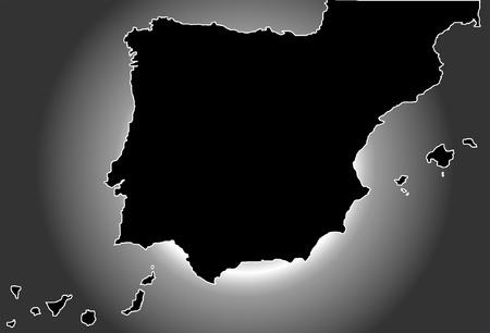 spain map: Spagna Mappa in nero con flash bianco