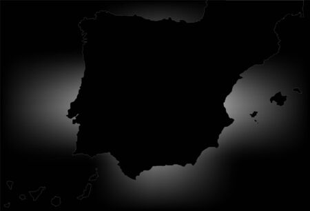 castilla: Spain map in black with white flash