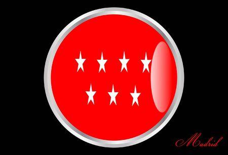 madrid: Flag madrid in button Illustration