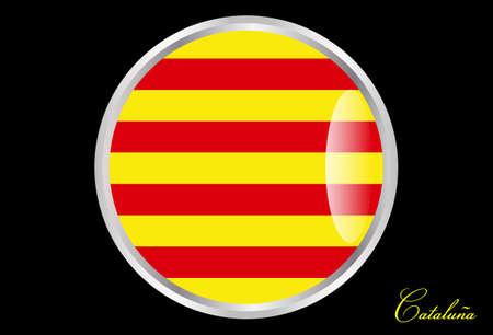 autonomic: flag of Catalonia in button Illustration