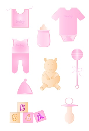 Set of baby items in pink
