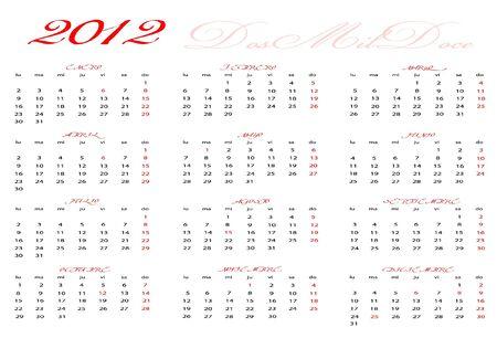 Calendar 2012 in Spanish Stock Vector - 14127364
