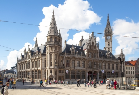 flemish:  GHENT, BELGIUM, SEPTEMBER 12: main facade of City Hall on September 12, 2010 in Ghent, Belgium. It was built in 1518 and the building can be visited from May to October from 14:30 except Fridays, Saturdays and Sundays Editorial