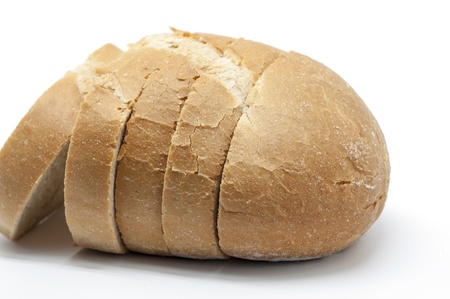 crust crusty: Loaf of bread on white background Stock Photo
