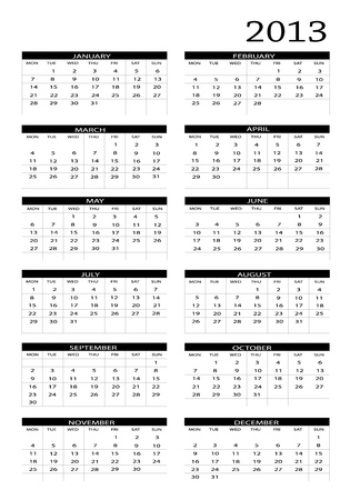 2013 new calendar in english