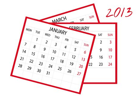 2013 new calendar in english Stock Vector - 14211811