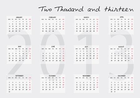 Nuevo calendario 2013 en Ingl�s Foto de archivo - 14211810
