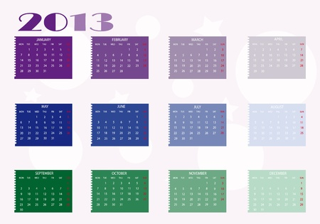 2013 new calendar in english Stock Vector - 14211806