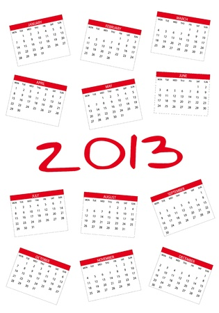 2013 new calendar in english Stock Vector - 14211816