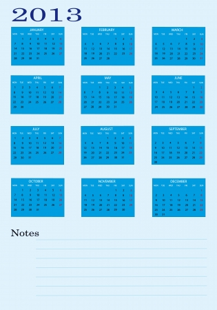 2013 new calendar with notes and blue  in english Stock Vector - 14211792