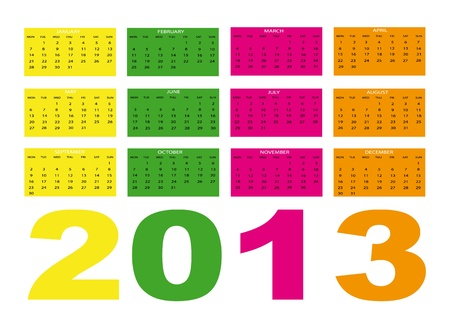 2013 new calendar in english Vector