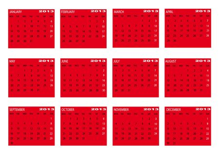 2013 new calendar in red  in english Vector