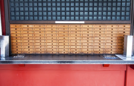 Wooden boxes to store the wishes in Senso-ji Temple, photo