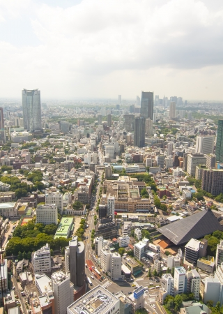TOKYO, JAPAN, JULY 5: A view of Tokyo from the top of Tokyo Tower on the July 5, 2011 in Tokyo, Japan.  The tower has a height of 332.6 meters. And Tokyo has a population of 13,157,428 inhabitants.