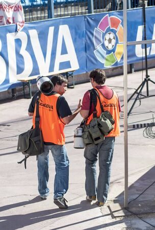 MADRID, SPAIN-SEPT. 18: photographers in the Vicente Calderon soccer stadium During