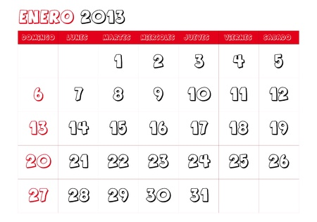 January 2013 Calendar in spanish Vector